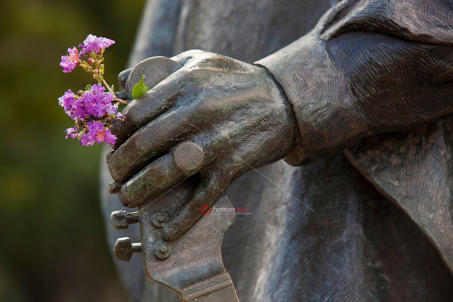 Famous hands of world's greatest guitarist, Stevie Ray Vaughan Statue located in Austin, Texas