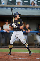 Bristol Pirates right fielder Conner Uselton (25) at bat during the second game of a doubleheader against the Bluefield Blue Jays on July 25, 2018 at Bowen Field in Bluefield, Virginia.  Bristol defeated Bluefield 5-2.  (Mike Janes/Four Seam Images)