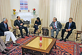 Prime Minister-designate Jawad al-Maliki of Iraq (2nd from left) meets with United States Secretary of State Condoleezza Rice (center), US Secretary of Defense Donald H. Rumsfeld (2nd from right) and US  Ambassador to Iraq Zalmay Khalilzad in Baghdad, Iraq, on April 26, 2006.  Rumsfeld and Rice made an unannounced visit to Iraq to meet jointly with al-Maliki to show support for the continuing process of building a new Iraqi government.  Rumsfeld is also meeting with senior military leaders and the troops while in Iraq. <br /> Mandatory Credit: Chad J. McNeeley / DoD via CNP