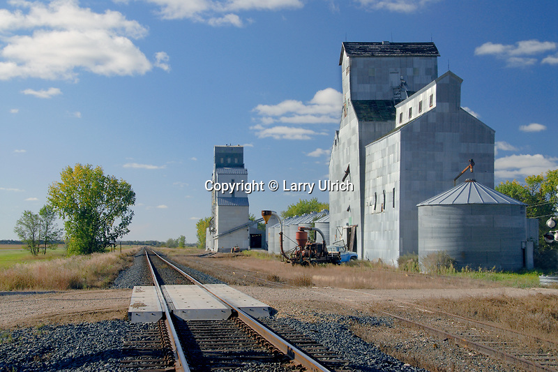Railroad tracks and grain elevators<br />
