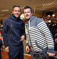 Pictured: Gylfi Sigurdsson and Rhodri Griffith Tuesday 06 December 2016<br />Re: Swansea City FC Christmas Party at the Liberty Stadium, Wales, UK