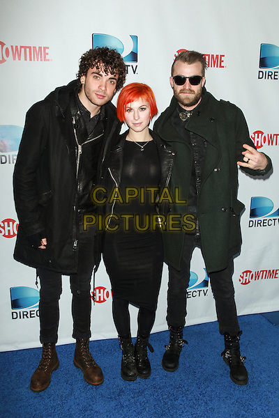 NEW YORK, NY - FEBRUARY 1: Taylor York, Haley Williams and Jeremy Davis of Paramore attends the DirecTV Beach Bowl at Pier 40 on February 1, 2014 in New York City. <br /> CAP/MPI/COR<br /> &copy;Corredor99/ MediaPunch/Capital Pictures