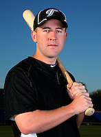March 1, 2010:  Catcher Brian Jeroloman (12) of the Toronto Blue Jays poses for a photo during media day at Englebert Complex in Dunedin, FL.  Photo By Mike Janes/Four Seam Images