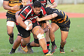 Taafaga Tagaloa makes a determined run towards the tryline. Counties Manukau Premier Club Rugby game between Papakura and Bombay, played at Massey Park Papakura on Saturday June 16th 2018. Bombay won the game 36 - 17 after leading 17 - 7 at halftime.<br /> Papakura Ray White 17 - Kris Smithson 2, Taafaga Tagaloa tries, Monty Punatai conversion.<br /> Bombay 36 - Jordan Goldsmith, Haamiora Clarke 2, Patrick Masoe, Mitchell Thackham, Chay Mackwood tries, Jordan Goldsmith 2, Ki<br /> Anufe conversions.<br /> Photo by Richard Spranger.
