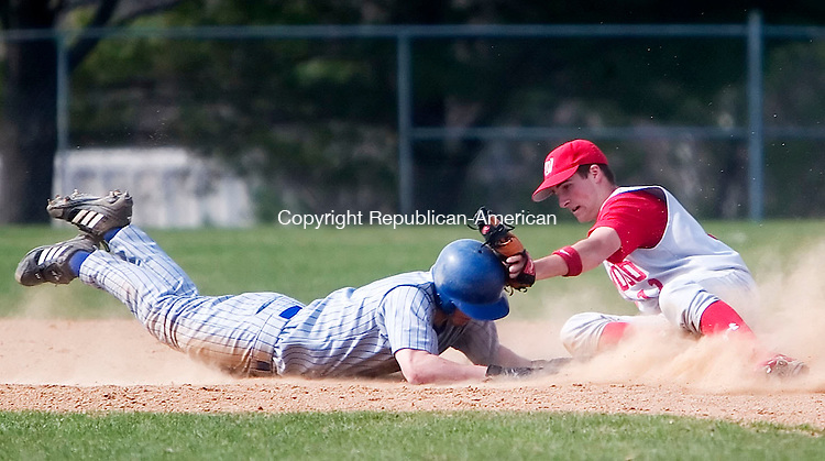 BURLINGTON, CT- 23 APRIL 07- 042307JT06-<br /> Wamogo's Mark Zarrella tags out Lewis Mills' Colin Pisarski as he slides to second during Monday's game at Lewis Mills.<br /> Josalee Thrift Republican-American