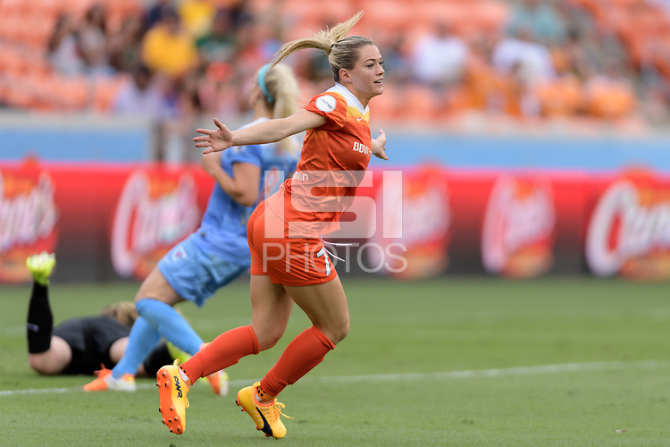 Houston, TX - Saturday April 15, 2017: Kealia Ohai scores the first goal during a regular season National Women's Soccer League (NWSL) match won by the Houston Dash 2-0 over the Chicago Red Stars at BBVA Compass Stadium.