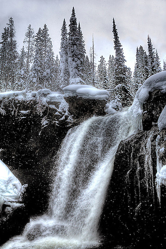 MOOSE FALLS FLOWS DURING THE WINTER AT YELLOWSTONE NATIONAL PARK,WYOMING
