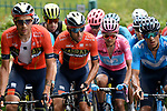 The peloton including Vincenzo Nibali (ITA) Bahrain-Merida and Maglia Rosa Richard Carapaz (ECU) Movistar Team during Stage 15 of the 2019 Giro d'Italia, running 232km from Ivrea to Como, Italy. 26th May 2019<br /> Picture: Fabio Ferrari/LaPresse | Cyclefile<br /> <br /> All photos usage must carry mandatory copyright credit (© Cyclefile | Fabio Ferrari/LaPresse)