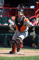 Akron RubberDucks catcher Tony Wolters (1) looks for a foul ball pop up during a game against the Erie SeaWolves on May 18, 2014 at Jerry Uht Park in Erie, Pennsylvania.  Akron defeated Erie 2-1.  (Mike Janes/Four Seam Images)