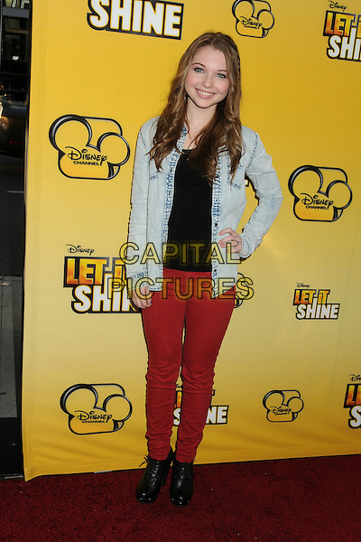 "Sammi Hanratty.""Let It Shine"" Los Angeles Premiere held at the Directors Guild of America, West Hollywood, California, USA..June 5th, 2012.full length jean denim jacket hand on hip black top red jeans .CAP/ADM/BP.©Byron Purvis/AdMedia/Capital Pictures."