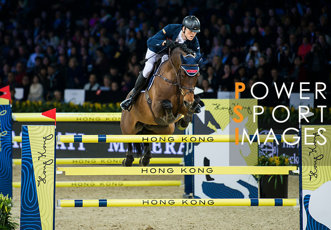 Max Kuhner of Austria riding Clelito Lindo 2 competes in the Longines Grand Prix during the Longines Masters of Hong Kong at AsiaWorld-Expo on 11 February 2018, in Hong Kong, Hong Kong. Photo by Christopher Palma / Power Sport Images