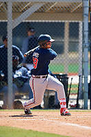 Atlanta Braves Jefrey Ramos (49) during a Minor League Spring Training game against the Detroit Tigers on March 22, 2018 at the TigerTown Complex in Lakeland, Florida.  (Mike Janes/Four Seam Images)