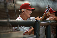 Chattanooga Lookouts manager Danny Darwin (44) during a Southern League game against the Birmingham Barons on July 24, 2019 at Regions Field in Birmingham, Alabama.  Chattanooga defeated Birmingham 9-1.  (Mike Janes/Four Seam Images)