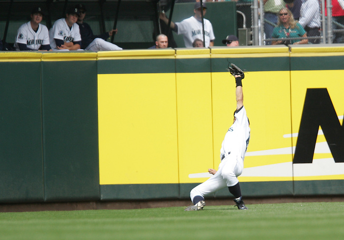 27 June 2007: Seattle Mariners #51 Ichiro Suzuki catches a high fly ball off Manny Ramirez in the second inning of the Seattle Mariners vs Boston Red Sox at Safeco Park in Seattle, Washington.