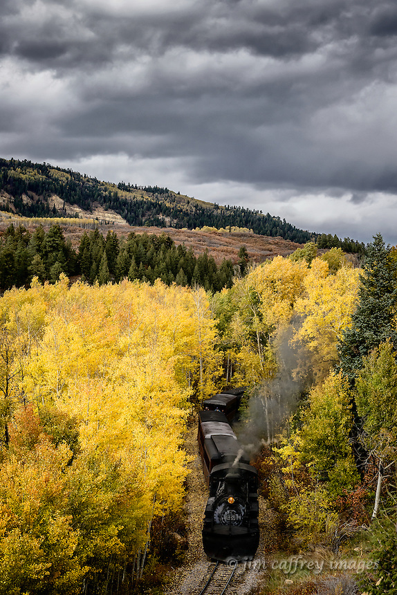 The Cumbres Toltec narrow gauge train makes its way through autumn foliage north of Chama, New Mexico in the Colorado Rockies.
