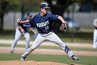 Upper Iowa University Peacocks pitcher Matt Meulemans (19) during a game against Slippery Rock University at Frank Tack Field on March 14, 2014 in Clearwater, Florida.  Slippery Rock defeated Upper Iowa 14-9.  (Mike Janes/Four Seam Images)