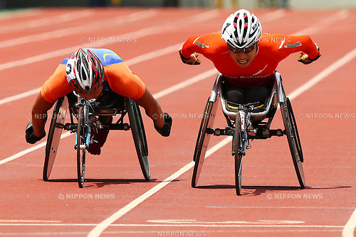 (L-R)<br /> Sho Watanabe,<br /> Kozo Kubo,<br /> JULY 18, 2015 - Athletics :<br /> Japan Para Athletics Championships,<br /> Men's T54 5000m Final<br /> at Yanmar Stadium Nagai, Osaka, Japan. <br /> (Photo by Shingo Ito/AFLO SPORT)