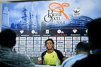SAO PAULO 26 DE FEVEREIRO DE 2014 - BRASIL OPEN SAO PAULO 2014 - O tenista brasileiro João Souza (Feijão) durante coletiva de imprensa. O Brasil Open acontece no Ginásio do Ibirapuera, na cidade de São Paulo durante os dias 22 de fevereiro a 02 de março. foto: Paulo Fischer/ Brazil Photo Press.
