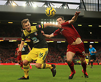 1st February 2020; Anfield, Liverpool, Merseyside, England; English Premier League Football, Liverpool versus Southampton; James Ward-Prowse of Southampton competes for the ball with Andy Robertson of Liverpool