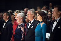 Le roi Philippe de Belgique et la reine Mathilde de Belgique en visite d'Etat au Danemark, lors de la soir&eacute;e &quot; The Black Diamond &quot;, en pr&eacute;sence du Prince Joachim de Danemark  la princesse Marie de Danemark, la princesse Mary de Danemark, le Prince Frederik de Danemark et la reine Margrethe II de Danemark.<br /> Danemark, Copenhague, 30 mars 2017.<br /> King Philippe of Belgium &amp; Queen Mathilde of Belgium during a State Visit to Copenhagen in Denmark are attending The Black Diamond event, with Crown Prince Joachim of Denmark,  Princess Marie of Denmark, princess Mary of Denmark, Prince Frederik of Denmark and Queen Margrethe II of Denmark.<br /> Denmark, Copenhagen, March 30, 2017.