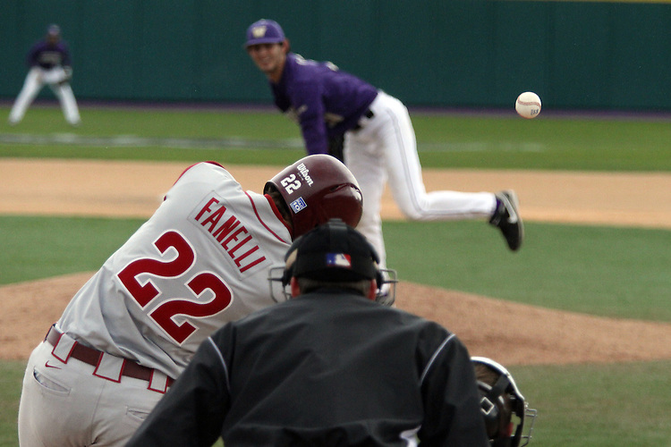 Washington State senior, Matt Fanelli (#22), connects with a pitch during the Cougars Pac-10 conference baseball game against arch-rival Washington in Seattle, Washington, on April 3, 2010.