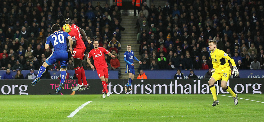 Leicester City's Shinji Okazaki forces a save from Liverpool's Simon Mignolet during todays match<br /> <br /> Photographer Rachel Holborn/CameraSport<br /> <br /> Football - Barclays Premiership - Leicester City v Liverpool - Tuesday 2nd February 2016 - King Power Stadium - Leicester<br /> <br /> &copy; CameraSport - 43 Linden Ave. Countesthorpe. Leicester. England. LE8 5PG - Tel: +44 (0) 116 277 4147 - admin@camerasport.com - www.camerasport.com