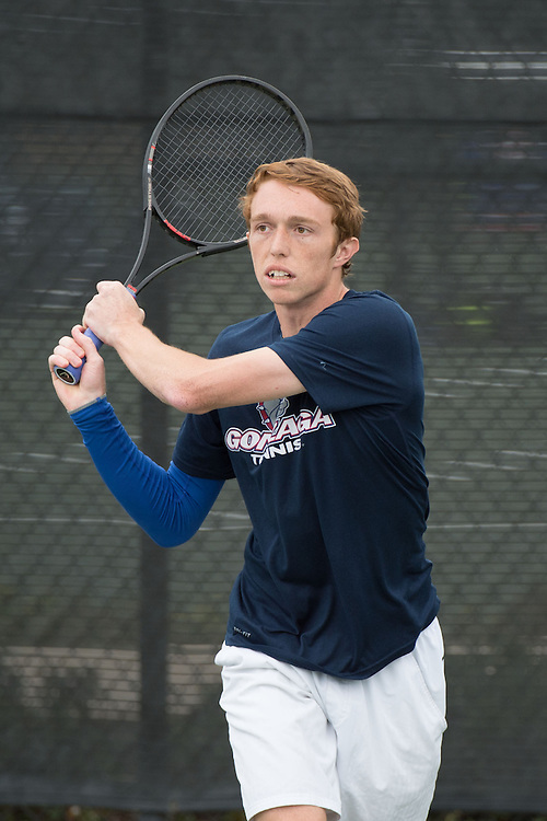 April 22, 2015; San Diego, CA, USA; Gonzaga Bulldogs tennis player Hayden Smith during the WCC Tennis Championships at Barnes Tennis Center.