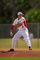Illinois State Redbirds starting pitcher Jeff Lindgren (21) delivers a pitch during a game against the Michigan State Spartans on March 8, 2016 at North Charlotte Regional Park in Port Charlotte, Florida.  Michigan State defeated Illinois State 15-0.  (Mike Janes/Four Seam Images)