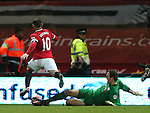 Thorsten Stuckmann of Preston North End dives in to concede a penalty to Wayne Rooney of Manchester United - FA Cup Fifth Round - Preston North End  vs Manchester Utd  - Deepdale Stadium - Preston - England - 16th February 2015 - Picture Simon Bellis/Sportimage