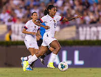 PASADENA, CA - AUGUST 4: Crystal Dunn #19 dribbles during a game between Ireland and USWNT at Rose Bowl on August 3, 2019 in Pasadena, California.
