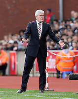 Stoke City's Manager Mark Hughes appeals during the Barclays Premier League match between Stoke City and Swansea City played at Britannia Stadium, Stoke on April 2nd 2016