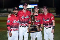(L-R) Carolina Mudcats All-Stars Marcos Diplan (18), Cam Roegner (37), Max McDowell (4), and Tucker Neuhaus (5) pose for a photo following the 2018 Carolina League All-Star Classic at Five County Stadium on June 19, 2018 in Zebulon, North Carolina. The South All-Stars defeated the North All-Stars 7-6.  (Brian Westerholt/Four Seam Images)