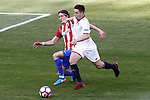 Atletico de Madrid's Filipe Luis (l) and Sevilla FC's Samir Nasri during La Liga match. March 19,2017. (ALTERPHOTOS/Acero)