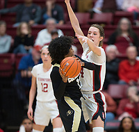 Stanford, CA - January 24, 2020: Lacie Hull at Maples Pavilion. The Stanford Cardinal defeated the Colorado Buffaloes in overtime, 76-68.