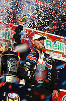 Nov 13, 2016; Pomona, CA, USA; NHRA pro stock driver Jason Line celebrates after clinching the 2016 world championship during the Auto Club Finals at Auto Club Raceway at Pomona. Mandatory Credit: Mark J. Rebilas-USA TODAY Sports
