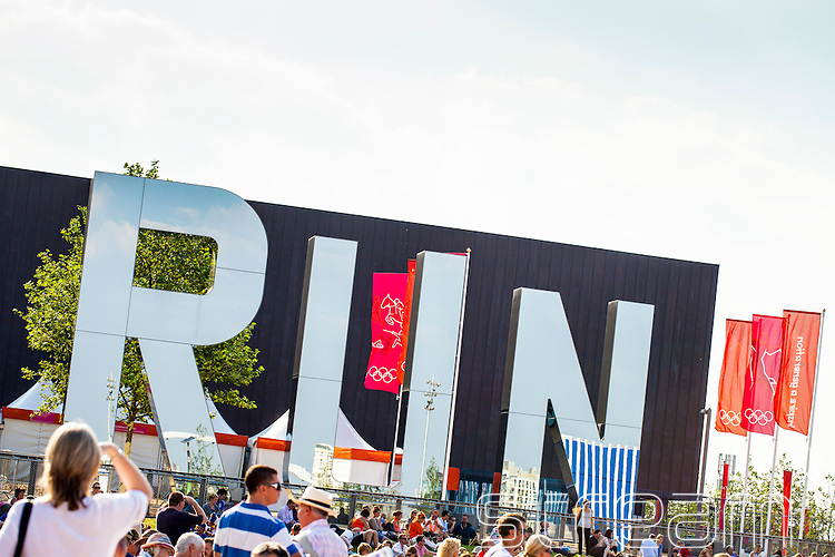 Artistic giant letters spelling the word run in the london 2012 olympic park