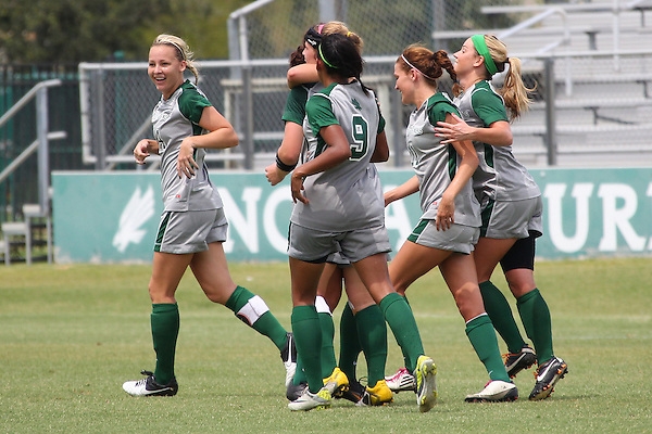 Denton, TX - AUGUST 31: of the University of North Texas Mean Green women's soccer team against University of Houston Cougars at the Mean Green Village Soccer Field on August 31, 2012 in Denton, Texas. NT won 2-1.(Photo by Rick Yeatts)