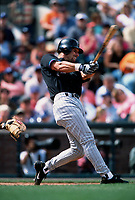 SAN FRANCISCO, CA:  Luis Gonzalez of the Arizona Diamondbacks bats during a game against the San Francisco Giants at Pacific Bell Park in San Francisco, California in 2002. (Photo by Brad Mangin)