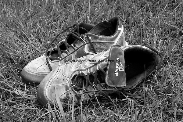 B&W closeup of baseball cleats