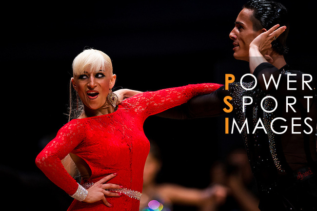Gabriele Goffredo and Anna Matus of Moldova during the WDSF GrandSlam Latin on the Day 1 of the WDSF GrandSlam Hong Kong 2014 on May 31, 2014 at the Queen Elizabeth Stadium Arena in Hong Kong, China. Photo by AItor Alcalde / Power Sport Images