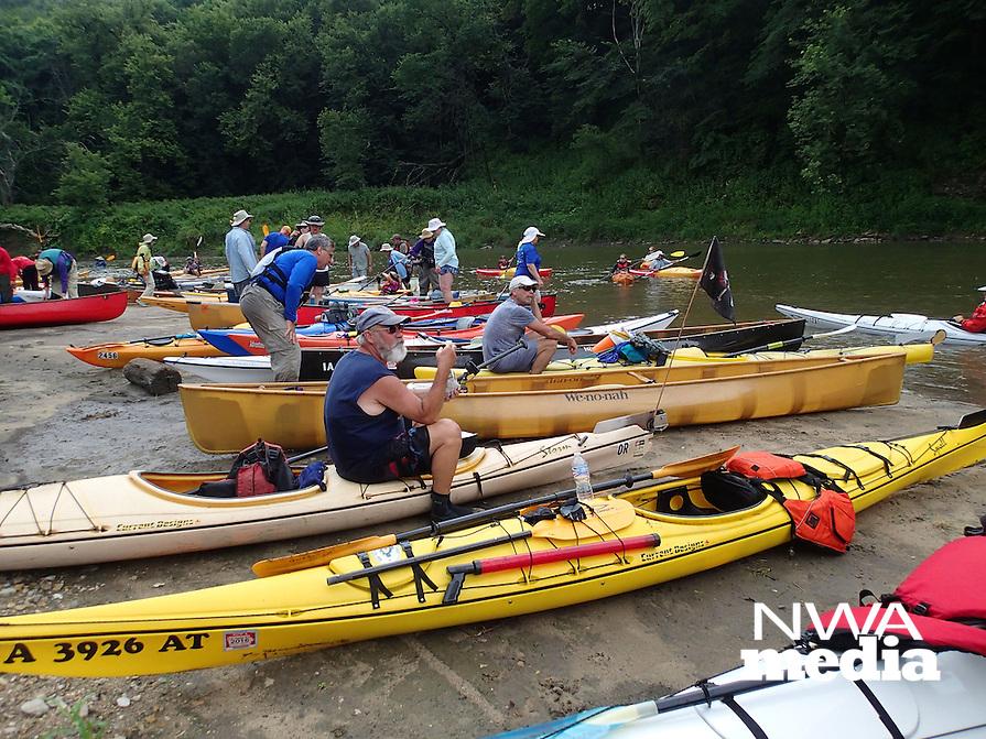 NWA Democrat-Gazette/FLIP PUTTHOFF<br /> Paddlers take a break     July 2015   on a Turkey River sandbar.