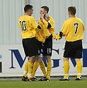 18/12/2004  Copyright Pic : James Stewart.File Name : jspa16_falkirk_v_qots.BRIAN MCLAUGHLIN IS CONGRATULATED  AFTER HE SCORES QUEEN OF THE SOUTH'S SECOND.....Payments to :.James Stewart Photo Agency 19 Carronlea Drive, Falkirk. FK2 8DN      Vat Reg No. 607 6932 25.Office     : +44 (0)1324 570906     .Mobile   : +44 (0)7721 416997.Fax         : +44 (0)1324 570906.E-mail  :  jim@jspa.co.uk.If you require further information then contact Jim Stewart on any of the numbers above.........