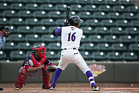 Luis Alexander Basabe (16) of the Winston-Salem Dash at bat against the Salem Red Sox at BB&T Ballpark on July 23, 2017 in Winston-Salem, North Carolina.  The Dash defeated the Red Sox 11-10 in 11 innings.  (Brian Westerholt/Four Seam Images)