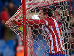 Atletico Madrid's Uruguayan defender Diego Godin celebrates after scoring during the Spanish Copa del Rey (King's Cup) football match Atletico de Madrid vs Athletic de Bilbao at the Vicente Calderon stadium in Madrid on January 23, 2014.   PHOTOCALL3000/ DP