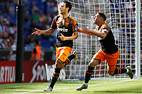2nd November 2019; RCDE Stadium, Barcelona, Catalonia, Spain;La Liga Football, Real Club Deportiu Espanyol de Barcelona versus Club de Futbol Valencia;  Parejo celebrates after scoring his goal in the 69th minute from the penalty spot - Editorial Use