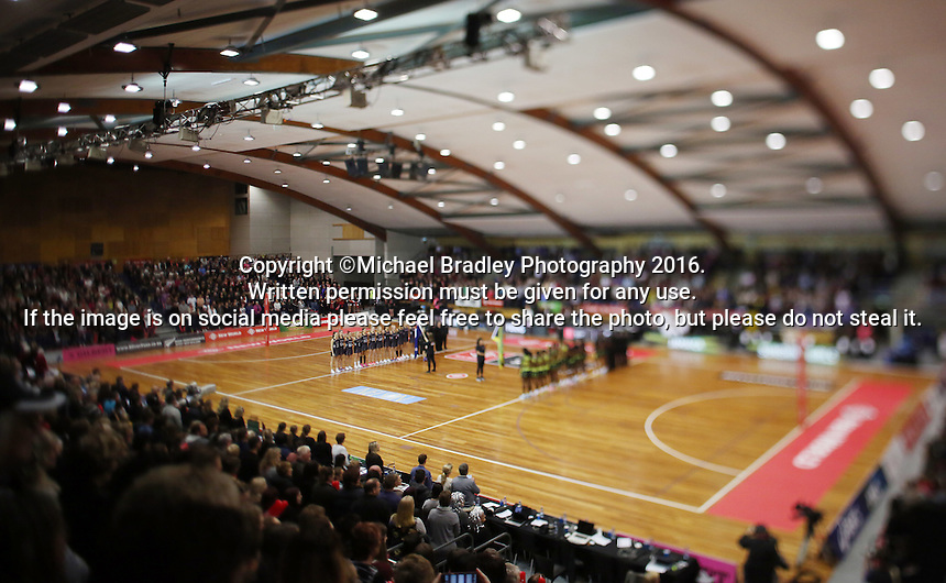 11.09.2016 Action during the Taini Jamison netball match between the Silver Ferns and Jamaica played at Trafalgar Centre in Nelson. Mandatory Photo Credit ©Michael Bradley.