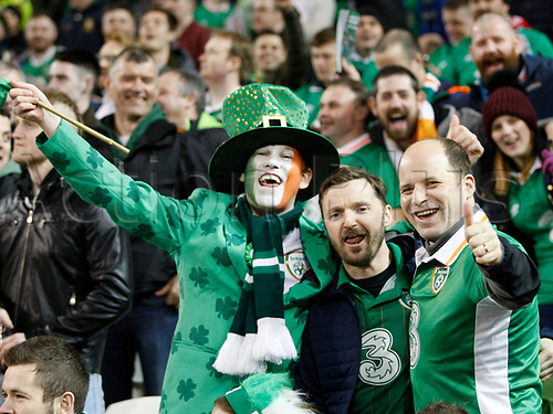 March 24th 2017, Aviva Stadium, Dublin, Republic of Ireland; World Cup 2018 Qualifier mens football, Republic of Ireland versus Wales; Ireland fans in fancy dress soaking up the atmosphere during the match against Wales