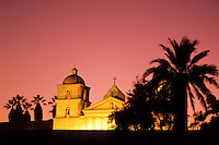 Santa Barbera Mission at sunset in California, USA