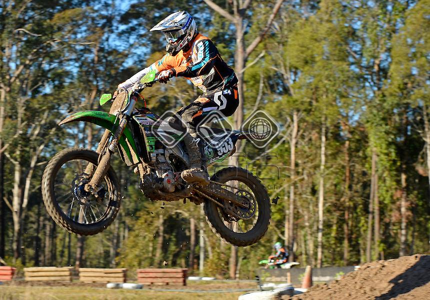 Matt Ryan / Kawasaki<br /> MX Nationals / Round 6 / MX2<br /> Australian Motocross Championships<br /> Raymond Terrace NSW<br /> Sunday 5 July 2015<br /> &copy; Sport the library / Jeff Crow