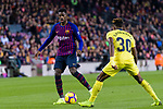 Ousmane Dembele of FC Barcelona (L) in action against Samuel Chukwueze of Villarreal (R) during the La Liga 2018-19 match between FC Barcelona and Villarreal at Camp Nou on 02 December 2018 in Barcelona, Spain. Photo by Vicens Gimenez / Power Sport Images